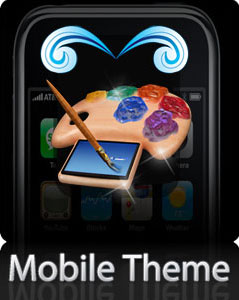 Blue Flamin Skull Mobile Theme